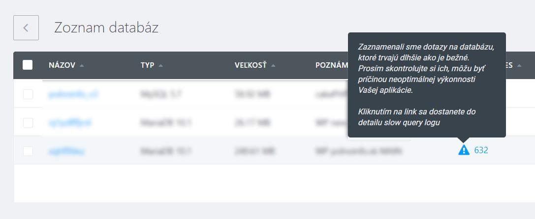 Informácia o pomalých príkazoch na databázu v administrácii Websupportu