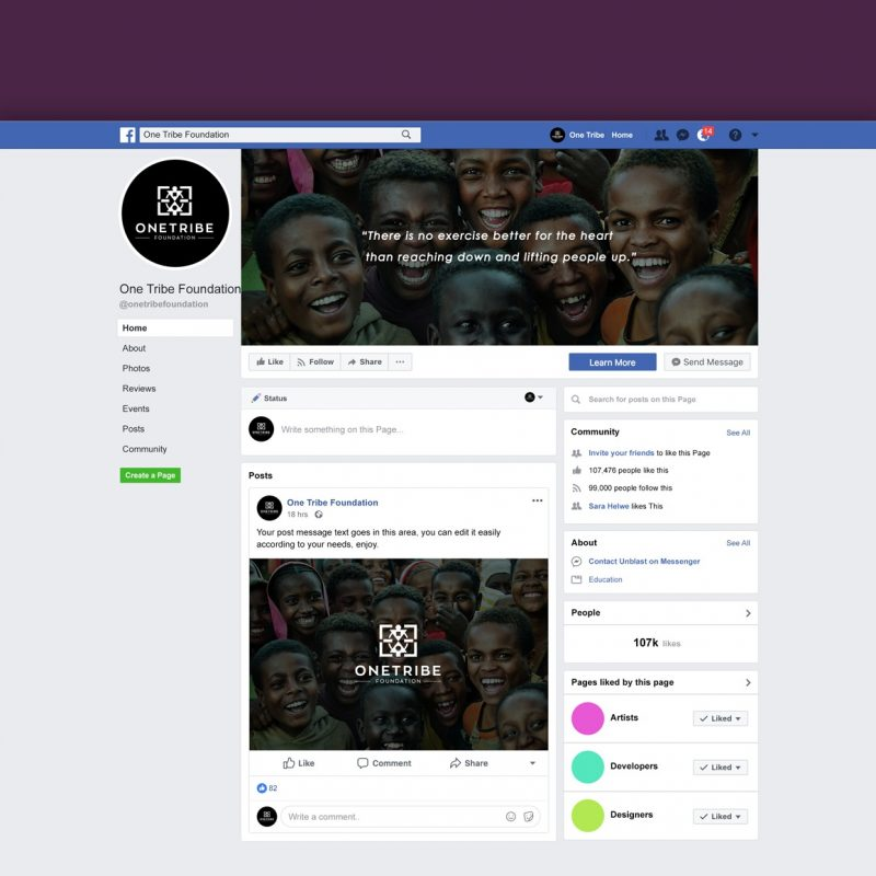 One Tribe Foundation Facebook page